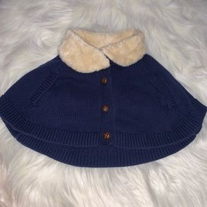 OshKosh Navy Cape Sweater with Faux Fur Collar